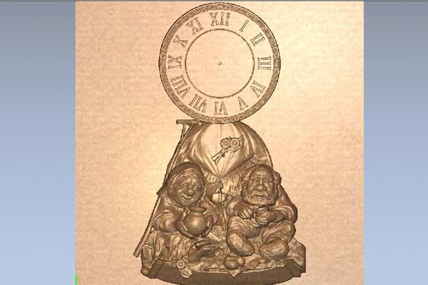 Часы бабушка с дедушкой STL модель