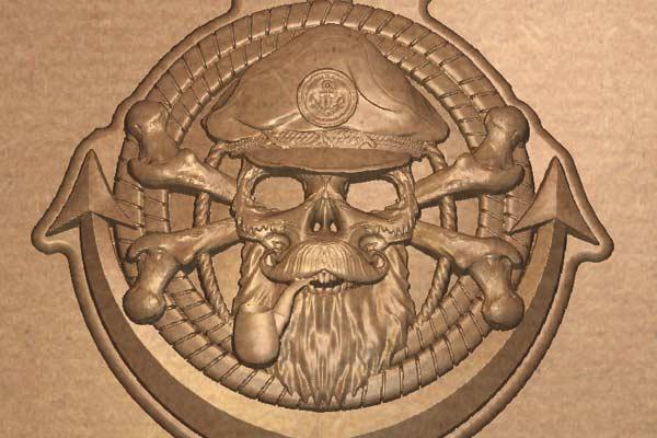 Морская тема Якорь с черепом модель STL