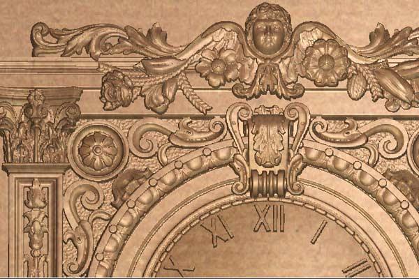 Часы с вензелями STL модель