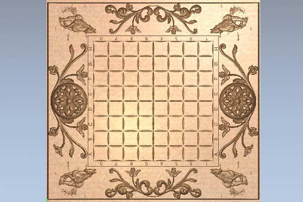 Шахматная доска с лошадьми STL модель