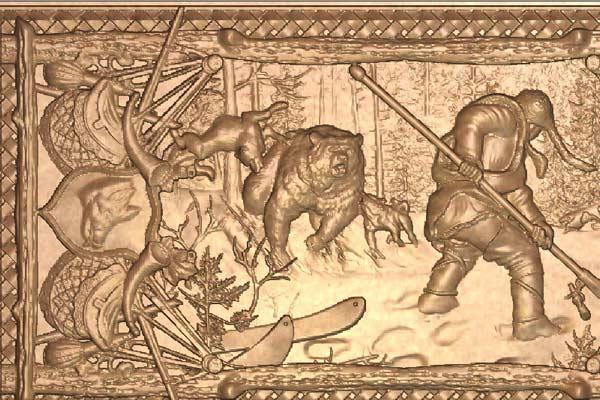 Нарды охота на медведя модель STL