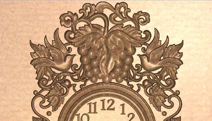 STL модель настенных часов с виноградом и птицами