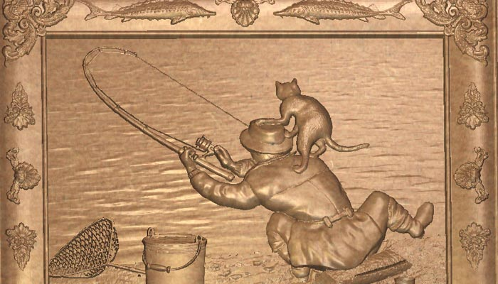 Панно рыбак с котом STL модель