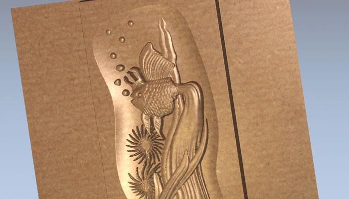 3D модель панно - Золотая рыбка